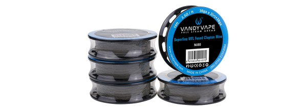 Vandy Vape - Ni80 Superfine MTL Fused Clapton Wire 30GA*2/38GA (0.25 mm*2/0.10 mm) Wickeldraht 3 Met